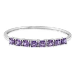 Amethyst Color and White Diamond Bangle Bracelet